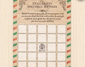 Printable Vintage Italian Airmail Style Bridal Wedding Shower Bingo Game Card, JPG Instant Download (not editable)