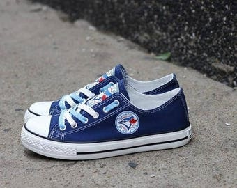 Custom Printed Low Top Canvas Shoes - Toronto Blue Jays