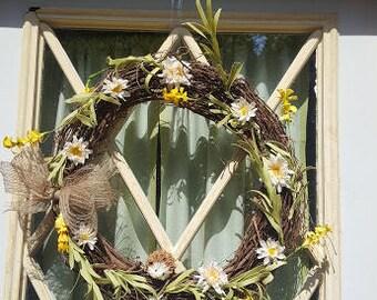 Floral Door Wreath - Indoor/ Outdoor Wreath - Yellow and White Floral Wreath with Hedgehog