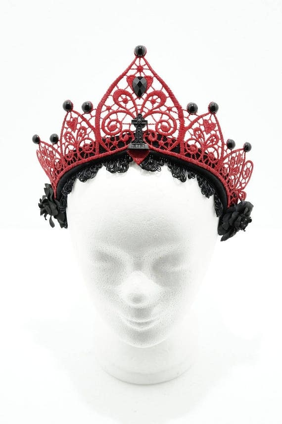 Red gothic-gravestone filigree lace crown kokoshnik / red lace Crown resin tombstone