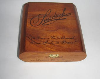 Wooden BOX cigar VINTAGE Grande Gala Brasil Hand Made Suerdieck cigar CASE