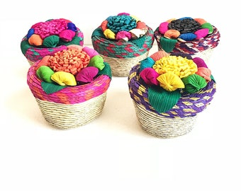 Mexican straw basket, Mexican party decorations, Mexican wedding favors, Fiesta decorations, Mexican party favors, Fiesta party, SET OF 5
