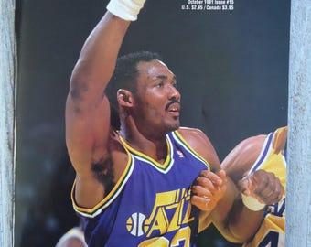 1991 Karl Malone Beckett, Vintage magazine, Karl Malone gift, Utah Jazz gift, 1991, Vintage NBA, Karl Malone, NBA gift, Vintage Beckett