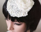 Ivory fascinator  bridal fascinator  silk flower  fabric flower fascinator