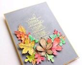 Thanksgiving automne - fait main - carte - mots de l'automne automne - carte - carte aquarelle - 3d.