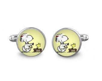Doctor Snoopy Cuff Links Woodstock Cuff Links 16mm Cufflinks Gift for Men Groomsmen Novelty Cuff links Fandom Jewelry