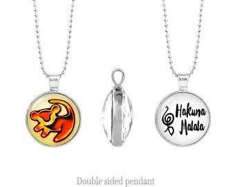 Simba Lion King Double Sided Necklace Hakuna Matata Pendant Simba Two Sided Pendant Necklace