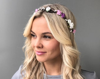 White pink flower crown bridal floral crown wedding flower crown wedding headband bridal flower halo bridal flower crown flower girl crown