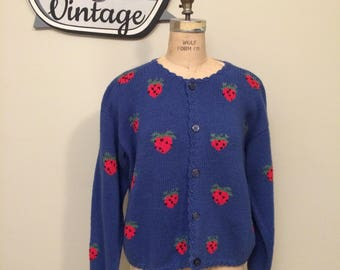 Vintage Red Strawberry and Blue Hand Knitted Cardigan | Size Small