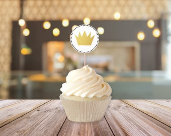 Printable Crown Cupcake Toppers || Where The Wild Things Are Party Supplies || Wild One First Birthday Party, Baby Shower (DIGITAL PRODUCT)