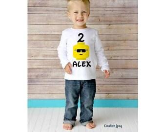 Lego Birthday shirt, Boy lego shirt/Second birthday shirts