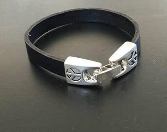 Black leather peace cuff, Zamac clasp