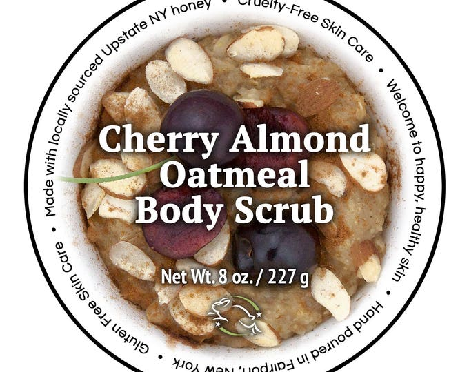 Featured listing image: Cherry Almond Oatmeal Body Scrub by Cire d'Abeille® Skin Care - Gluten Free