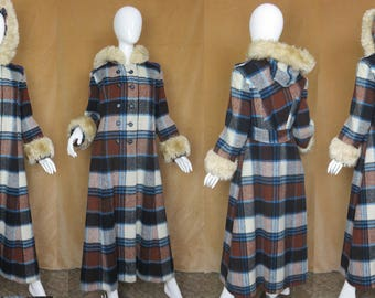 Long Plaid Coat, Double Breasted, Fuzzy Cuffs and Hood