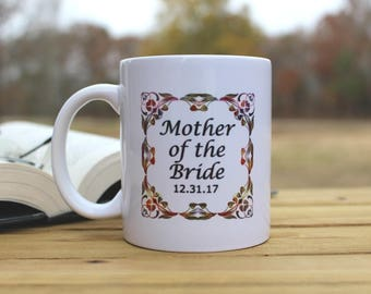Mother of the Bride / Groom Personalized Coffee Mug Flourish Design FAST SHIPPING!!