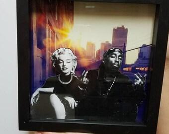 Wall art Marilyn Monroe and tupac shadowbox