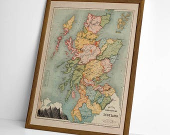 1852 Historic Scottish Map | Giclée Reproduction, antique wall art, home decor of Regions antique old map of Scotland | Scottish Gift