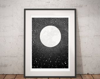 Moon / Art Print / / Art Print / Illustration / Giclée Print / Moon Print / Poster / Minimalist Artwork / Scandinavian