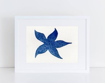 Blue Starfish / Fine Art Print / Starfish Print / Marine Print /Watercolor Print {Various sizes} - FREE SHIPPING!