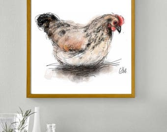 Framed chicken print // framed hen print // chicken art // chicken gifts // chicken lover // chicken kitchen art // chicken wall art