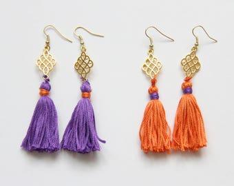 Clemson Tassel Earrings . Purple and Orange Tassel Earrings . Clemson Tigers Jewelry . Clemson University . Clemson Gameday Gear . Go Tigers