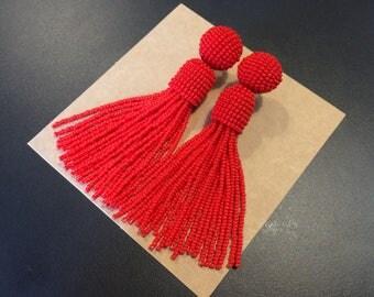 Red Tassel earrings oscar de la renta earrings 30th birthday for her Beaded tassel earrings clip tassel earrings