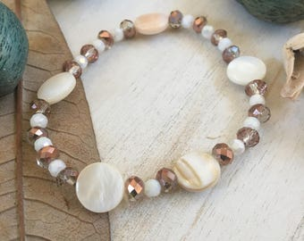 One-of-a-Kind, Ready-to-Ship, Handmade, Elegant, Boho, Beach Inspired, Rose Tinted Bead, White Lentil Bead, Stretch Cord, 7 Inch, Bracelet