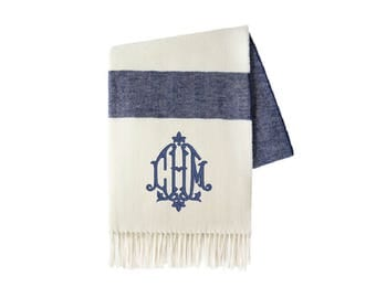 Monogrammed Throw, Navy Stripe