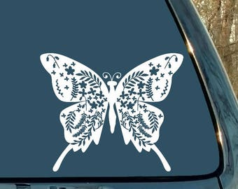 Mandala Decal, Flower Decal, Butterfly Decal, Car Decal, Laptop Sticker, Cup Decal, Locker Decal, Woman Gift, Girl Gift, Stocking Stuffer