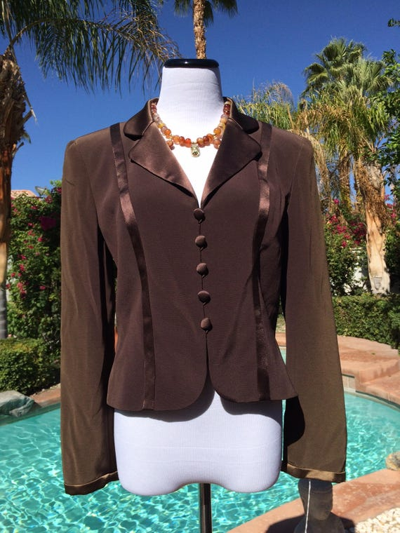 Oleg Cassini Classy Chocolate Brown Lined Jacket with Satin accents, Oleg Cassini Black Tie Label,Size 6