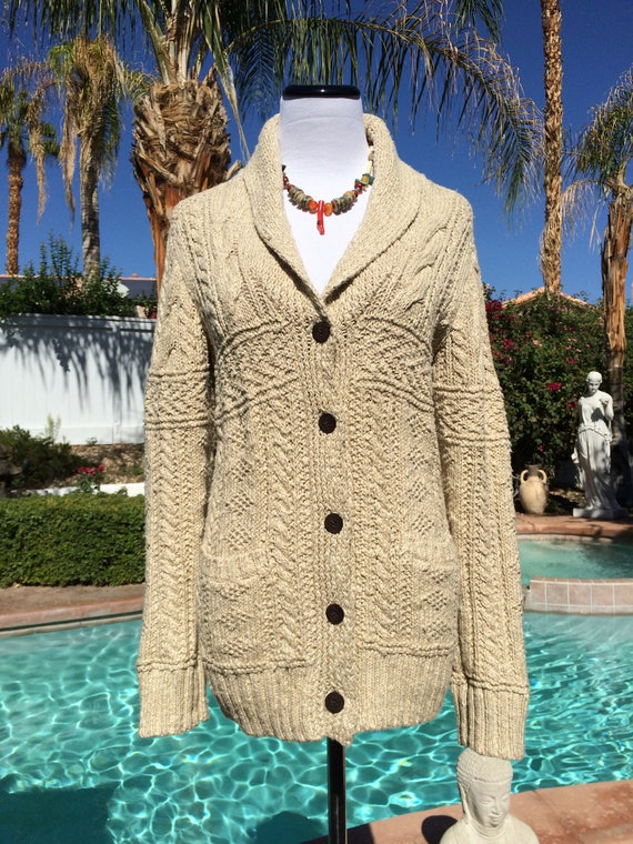 Ralph Lauren Shawl Collar Cotton Cable Knit Sweater,Denim & Supply,Size S/P.