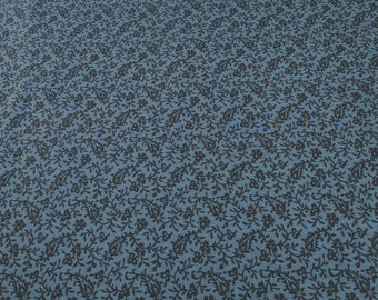 Pointe Pleasant-Black Leaf on Dark Blue Cotton Fabric designed by Nancy Rink for Marcus Fabrics