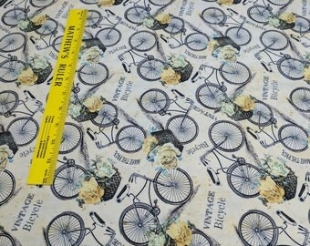 Vintage Bicycle-Cream Cotton Fabric from Wilmington Prints