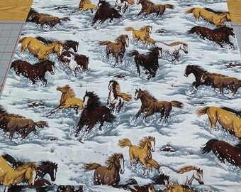 Horses in Snow Cotton Fabric