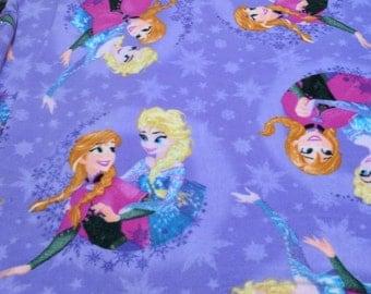 Frozen-Anna and Elsa on Purple Fleece Fabric