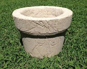 Large Hypertufa Ridged Collared Flower Pot/Planter, Natural Rustic, Handmade Indoor/Outdoor Garden Pot, Large Planter