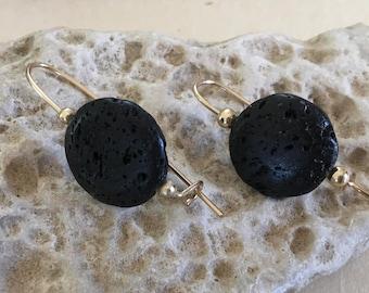 Gold earrings, Black lava earrings, Black earrings, Goldfilled earrings, Lava earrings, Lava gemstone, Dangle earrings, Round earrings,
