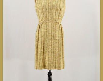 1960s Linen Tweed  Sleeveless Sheath Dress