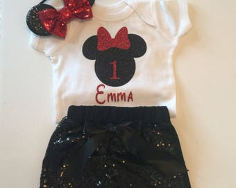 minnie mouse 1st birthday outfit, 1st birthday, smash cake outfit, disney, 1st trip to disney outfit, minnie mouse outfit, baby girl outfit