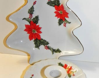 Vintage Lefton Poinsettia Christmas Tree Dish and Candle Holder Lot