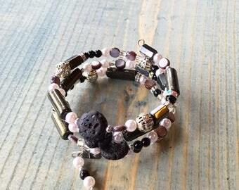 Lava rock bracelet, essential oil diffuser wrap bracelet, memory wire bracelet. black lava rock, black hemalyke beads, hemalyke bracelet,