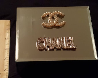 Chanel inspired mirror small jewelry box. Cc gold rhinestone and pearl coco Chanel inspired jewelry box.