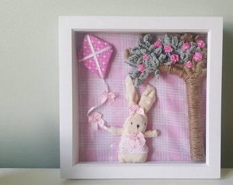 Handmade bunny nursery wall  art for baby girl - lets go fly a kite!
