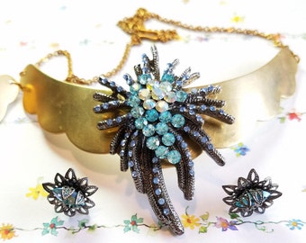 Vintage rhinestone brooch pin statement necklace and matching earrings/ made from repurposed jewelry/blue and gold setting for sale