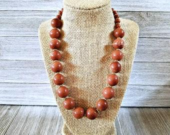 Sandstone necklace, large beaded sandstone necklace, gold sandstone, sandstone jewelry, large sandstone necklace, chunky sandstone necklace