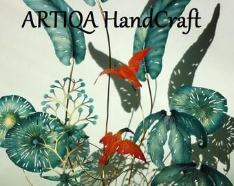 interior,art,object,sculpture,rare,botanical,handmade,tabletop,display,desktop,accessory,metallic,green,blue,red,bird,nature,tropical,deco