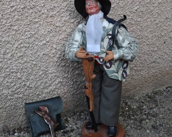 GENUINE and old Vintage French Santon from Provence Hunter terracotta figurine, signed O.Ermer
