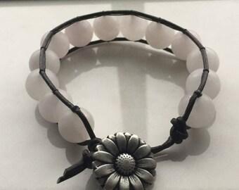 Rose Quartz Leather Bracelet -7in