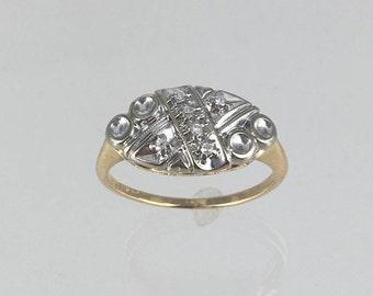 1950's 14K gold two tone diamond ring with six diamonds