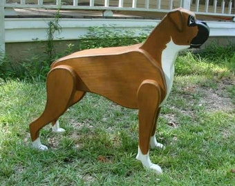 Wooden Boxer Statue, Life Size Boxer, Wooden Dog Statue